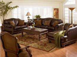 Live Room Set Brown Sofas Reflecting Room Decoration Luxury Leather