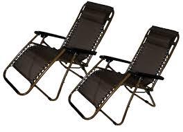 Recliner Patio Chair Caravan Canopy Oversize Zero Gravity Chair Brown
