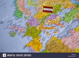 Vienna Map Flag Pin Placed On World Map In The Capital Of Austria Vienna