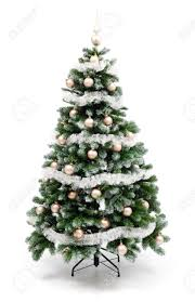 artificial christmas tree isolated on white decorated with golden