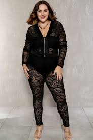 plunging jumpsuit black plunging neckline sleeve sheer plus size dressy jumpsuit