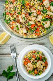 shrimp and vegetable couscous salad babaganosh
