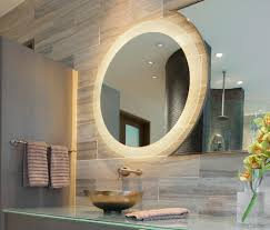 mirror design ideas inside round illuminated bathroom mirror