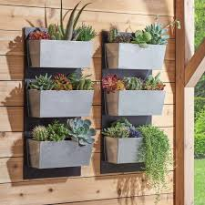 Vertical Garden Pot - 3pc galvanized flower wall stand planter pot vertical outdoor