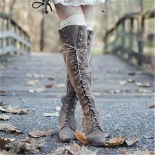 womens boots knee high black 2016 mid heel grey black leather cowboy boots retro autumn