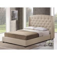 Modern Platform Bed With Lights - ipswich light beige linen modern platform bed free shipping