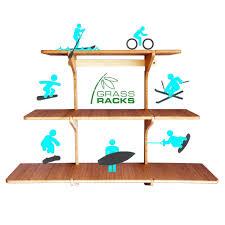 Skateboard Shelf Bamboo Floating Wall Shelf Triple Shelf Grassracks Bamboo