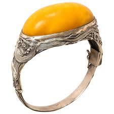 amber bangle bracelet images Austrian art nouveau cabochon amber silver bangle bracelet at 1stdibs jpg