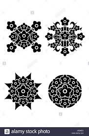 flowers tribal tattoo set stock photo royalty free image