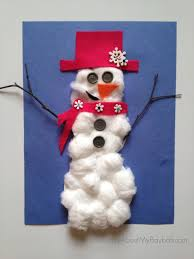 25 winter and christmas crafts for kids cotton ball snowman