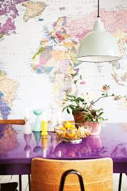 curate the look 5 world map wall murals wall mural map with purple dining table