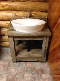 All Wood Bathroom Vanities by Natural Hickory Wood Vanity Cabinet And Double White Vessel Sink