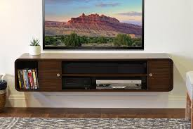 rustic brown polished oak wood wall mounted tv cabinet shelf with