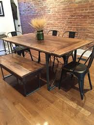 reclaimed wood table with metal legs kitchen metal and wood table on pertaining to in dining architecture