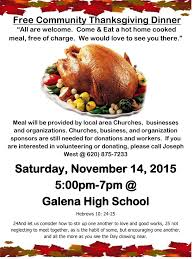 what do you for thanksgiving dinner free community thanksgiving dinner the galena sentinel times