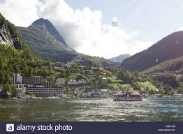 Small Town Geiranger Norway Small Town In The End Of The Fjord Stock Photo