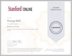 Coursera Courses On Resume Stanford University Machine Learning Certification