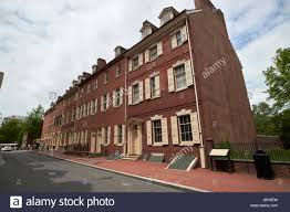 Philadelphia Row Houses - historic row houses or townhouses on walnut street old city stock