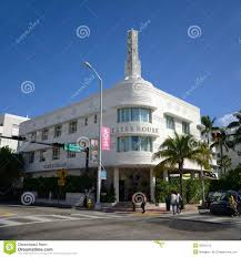 art deco style essex house in miami beach editorial photography