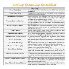 sample spring cleaning checklist 10 example format