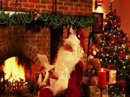 santa claus and christmas tree christmas lights decoration