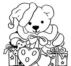 Coloriage de Petit ours avec bonnet de Noël pour Colorier
