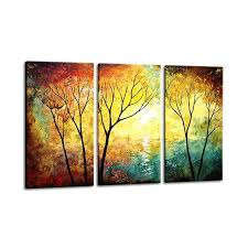 home decor paintings for sale 3 panel set wall art painting yellow red tree oil painting oil
