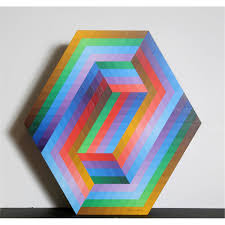 victor vasarely kezdi painted wood sculpture