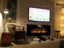 family room with mounted lcd tv and electric fireplace using