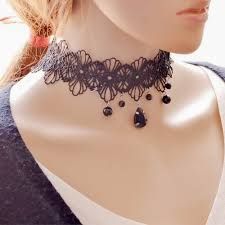 girl collar necklace images Lolita fashion jewelry sexy choker necklace black lace bib jpg