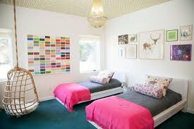 malm bed frame for a contemporary kids with a dark wood floors and