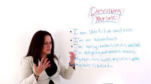 How To Describe Yourself In A Resume English Grammar Describing Yourself Youtube