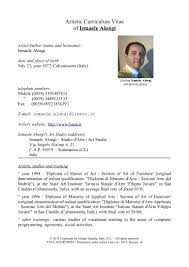 How To Write A Resume In English Ismaele Alongi Artistic Curriculum Vitae English Updated 2013 1 U2026
