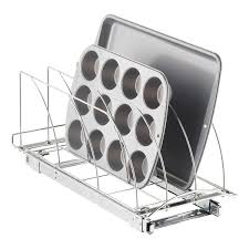 lynk under cabinet storage lynk 21 chrome pull out bakeware organizer the container store