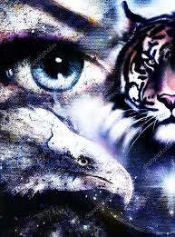 painting eagles and tiger with on abstract background in
