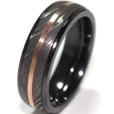 mens wedding rings titanium men s black zirconium ring with damascus steel and 14k gold