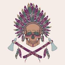 native american indian chief skull with tomahawk royalty free