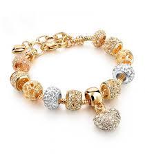 heart bracelet charms images Bracelet charms dor coeur strass style pandora pas cher jpg