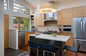 small space big style kitchen contemporary with orange and gray