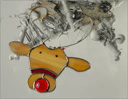 stained glass reindeer ornament free postage