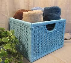 aquq robin egg blue wicker basket magazine rack mail