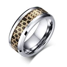 gold rings star images Tungsten gold star of david ring mens rings jpg
