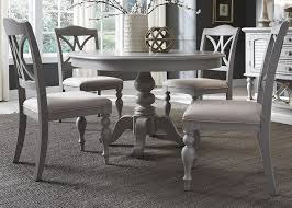 Dining Table With Grey Chairs Summer House Dove Grey Round Extendable Dining Table From Liberty