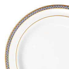Buffet Plates Wholesale by 10 Pc Renaissance White Blue Gold Plastic Salad Plates Smarty