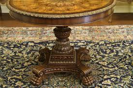 Round Foyer Table by Antique Reproduction Mahogany And Walnut Inlaid Center Table