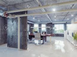 modern loft office interior 3d design concept stock photo