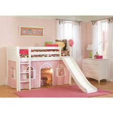 cottage white twin low loft bed with pink and white bottom curtain