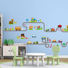 online get cheap wall art decals aliexpress com alibaba group cartoon car bus highway track wall stickers for kids rooms children s bedroom living room decor