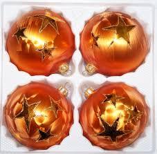 4 tlg glas weihnachtskugeln set 8cm ø in orange gold