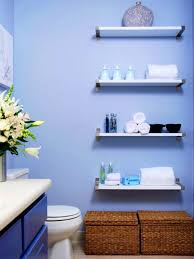 blue wall paint color against white elongated toilet below brown